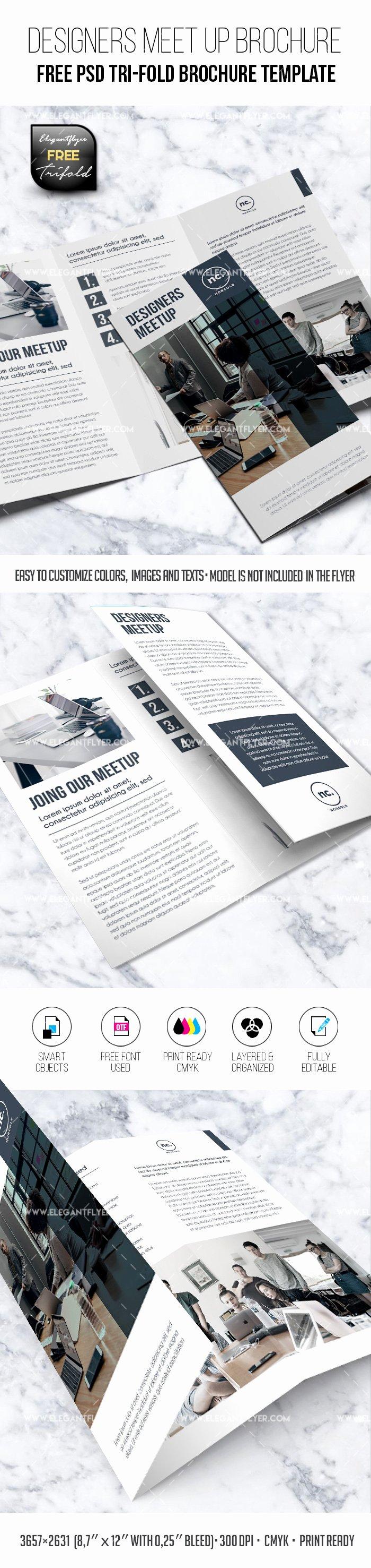 Tri Fold Brochure Template Psd Fresh Designers Meet Up – Free Psd Tri Fold Brochure Template – by Elegantflyer