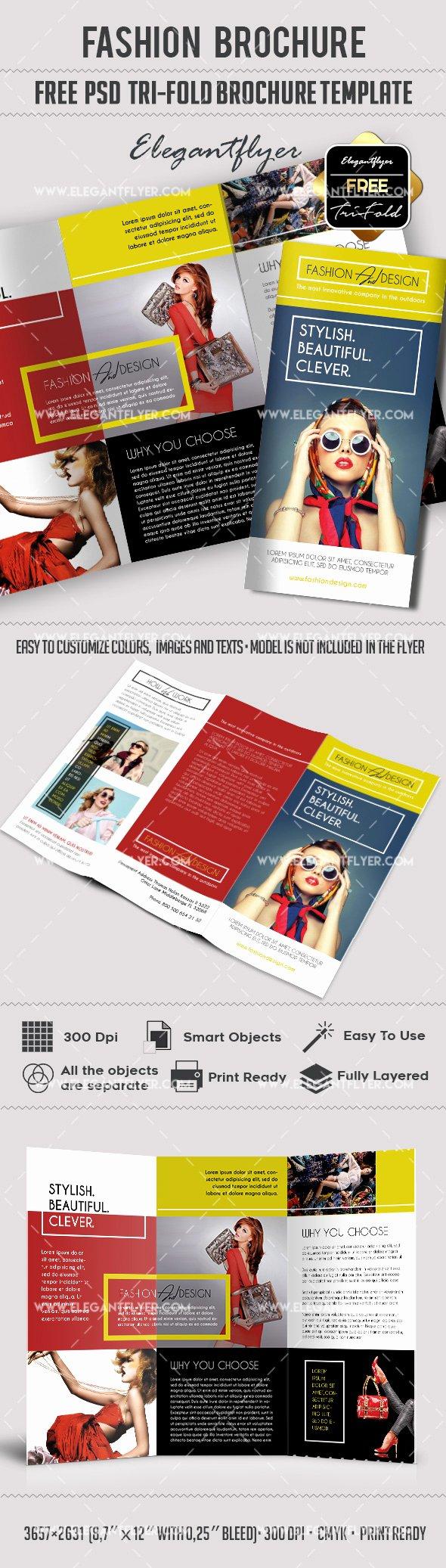 Tri Fold Brochure Template Psd Fresh Fashion – Free Tri Fold Psd Brochure Template – by Elegantflyer