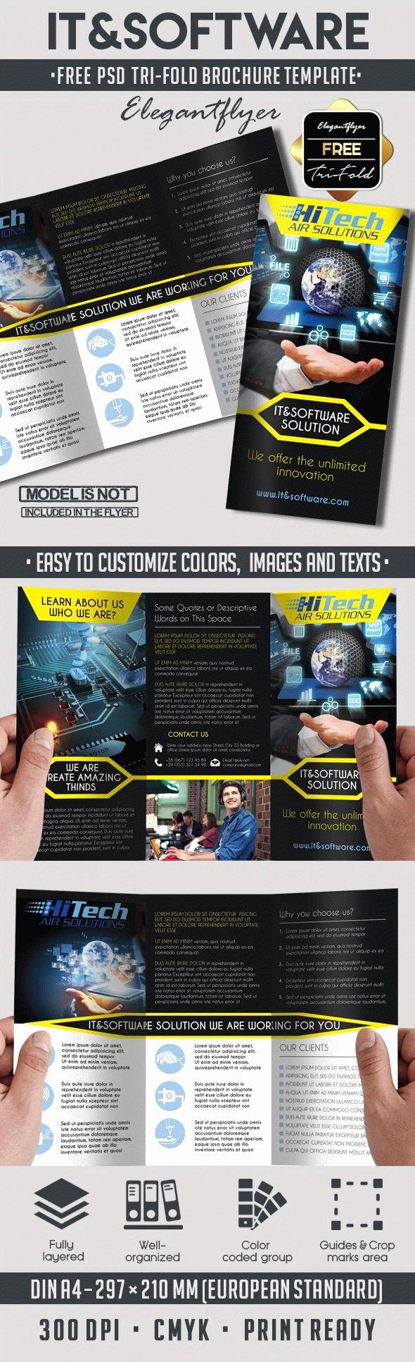 Tri Fold Brochure Template Psd Unique Free It and software Tri Fold Brochure – by Elegantflyer