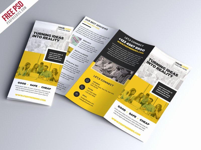 Tri Fold Brochure Template Psd Unique Multipurpose Tri Fold Brochure Psd Template