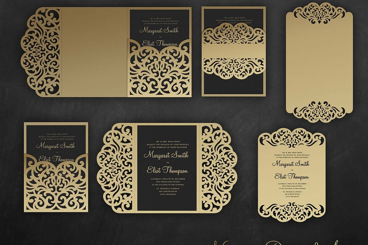 Tri Fold Invitation Template Awesome Laser Cut Wedding Invitation Set 5x7 Cricut Template