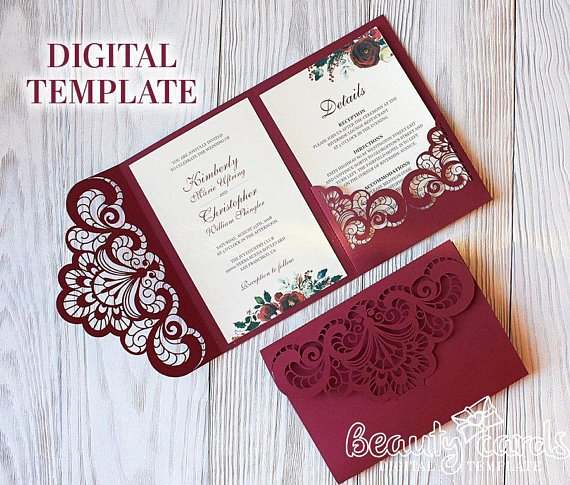 Tri Fold Invitation Template Awesome Wedding Invitation Template Envelope Tri Fold ornamental
