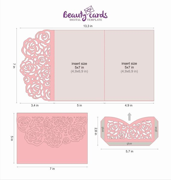 Tri Fold Invitation Template Best Of Wedding Invitation Template Envelope Tri Fold Flower Rose