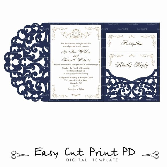 Tri Fold Invitation Template Elegant Set Of Tri Fold Pocket Envelope 5x7 Wedding Invitation Svg Dxf
