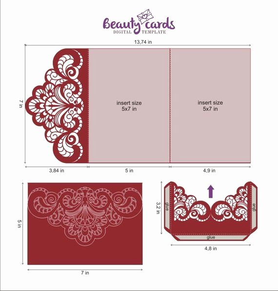 Tri Fold Invitation Template Elegant Wedding Invitation Template Envelope Tri Fold ornamental