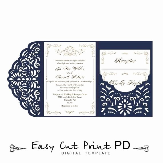 Tri Fold Invitation Template Luxury Wedding Invitation Tri Fold Filigree Lace Pocket Envelope