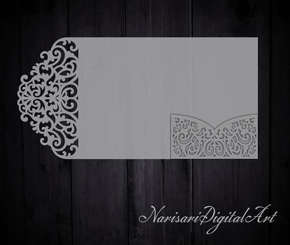 Tri Fold Invitation Template Unique Tri Fold 5x7 Wedding Invitation Pocket Envelope Svg