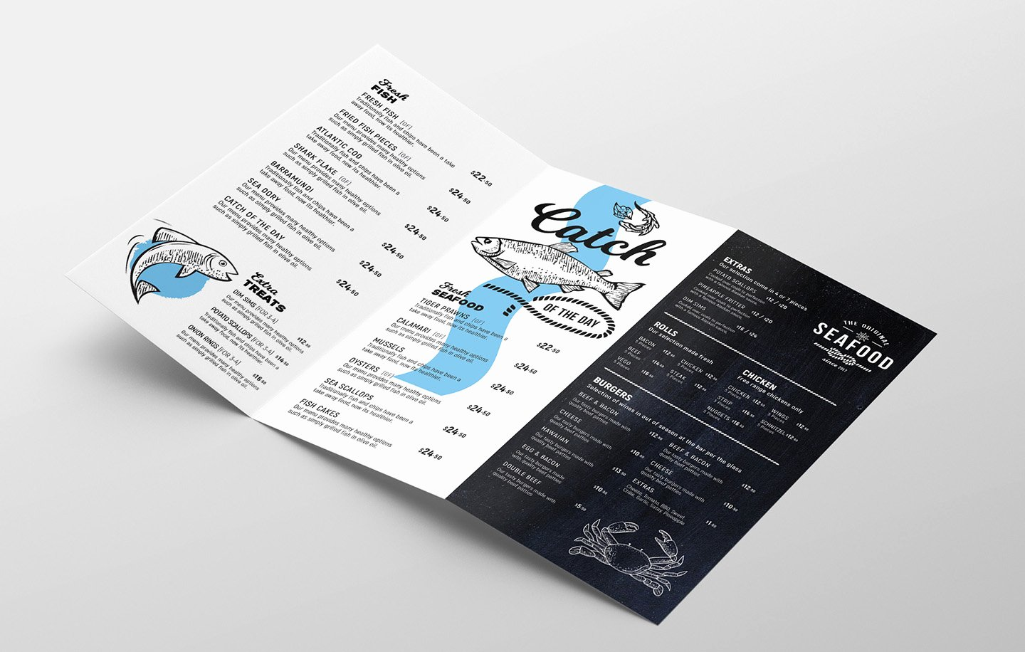 Tri Fold Menu Template Awesome Tri Fold Seafood Menu Template In Psd Ai & Vector Brandpacks