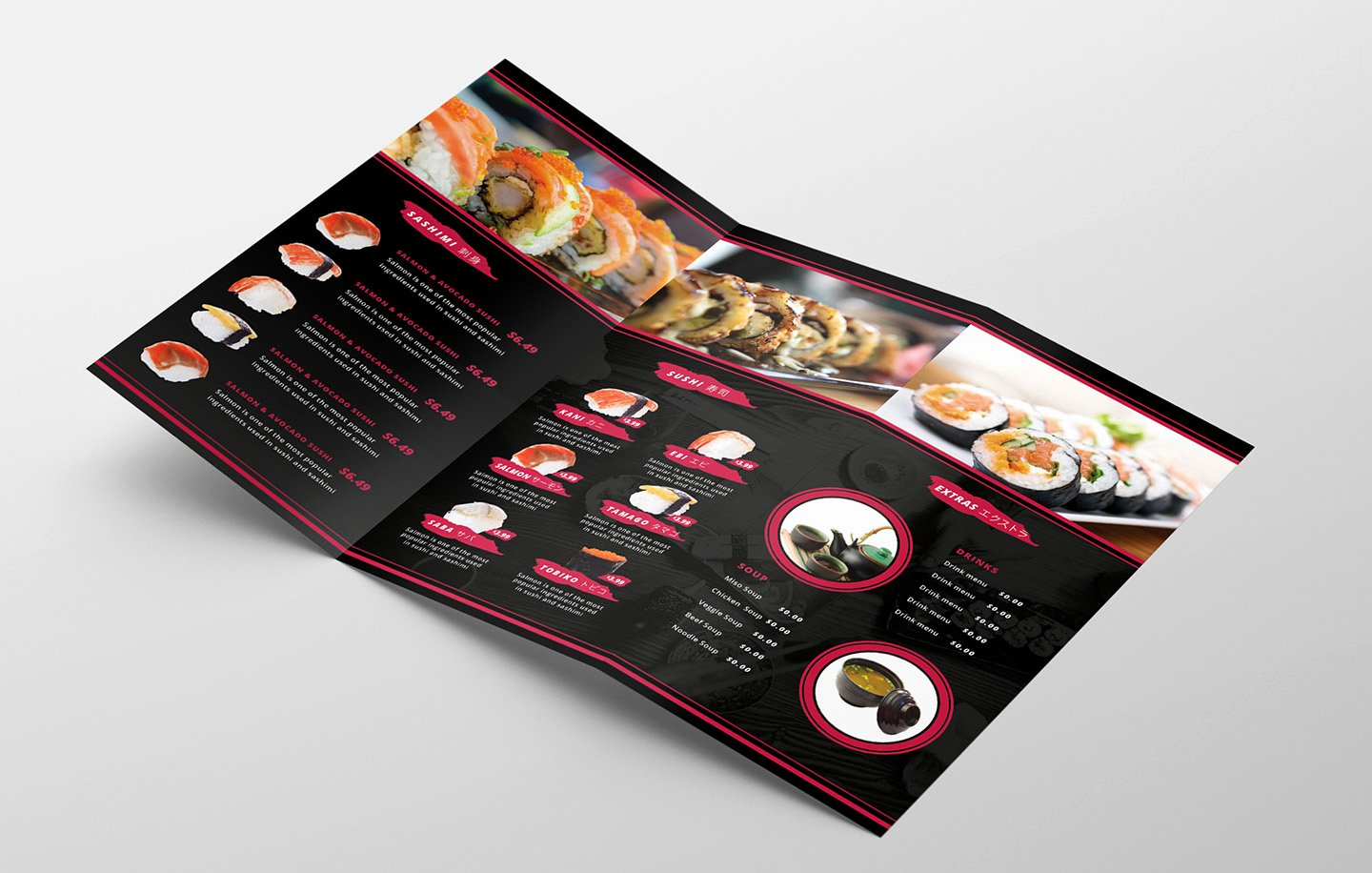 Tri Fold Menu Template Elegant Dark Tri Fold Sushi Menu Template In Psd Ai & Vector Brandpacks