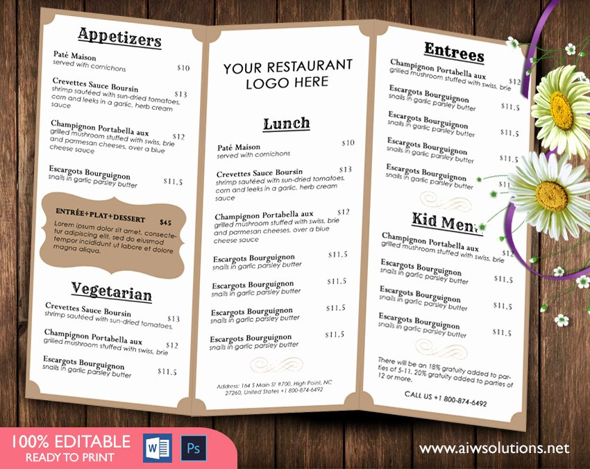 Tri Fold Menu Template Elegant Design & Templates Tri Fold Take Out Menu Menu Templates Wedding Menu Food Menu Bar Menu