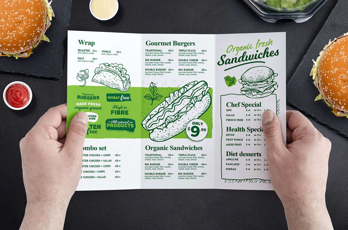 Tri Fold Menu Template Luxury Tri Fold Burger Menu Template In Psd Ai & Vector Brandpacks