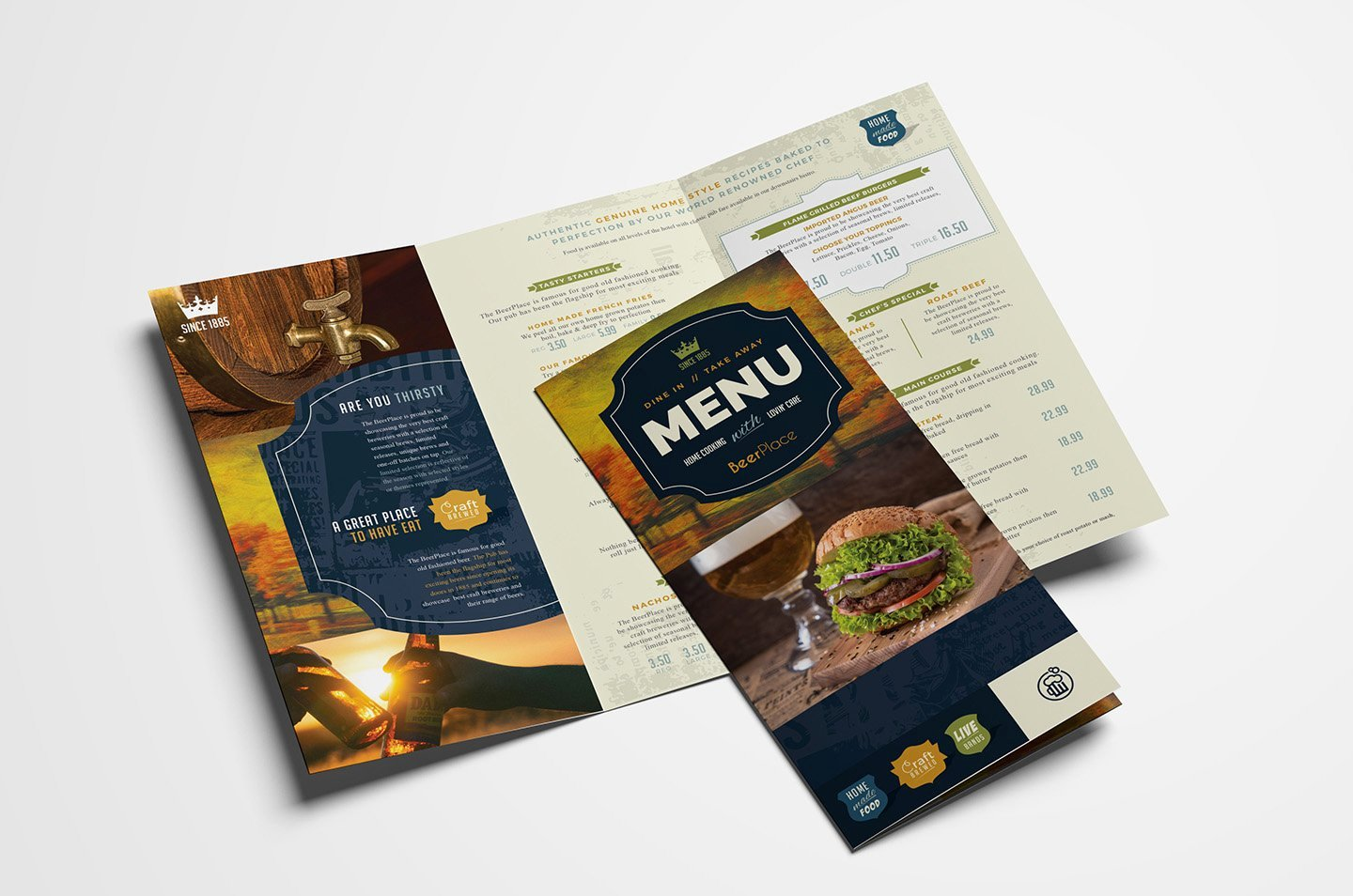 Tri Fold Menu Template Unique Trifold Pub Menu Template Brochure Templates Creative Market