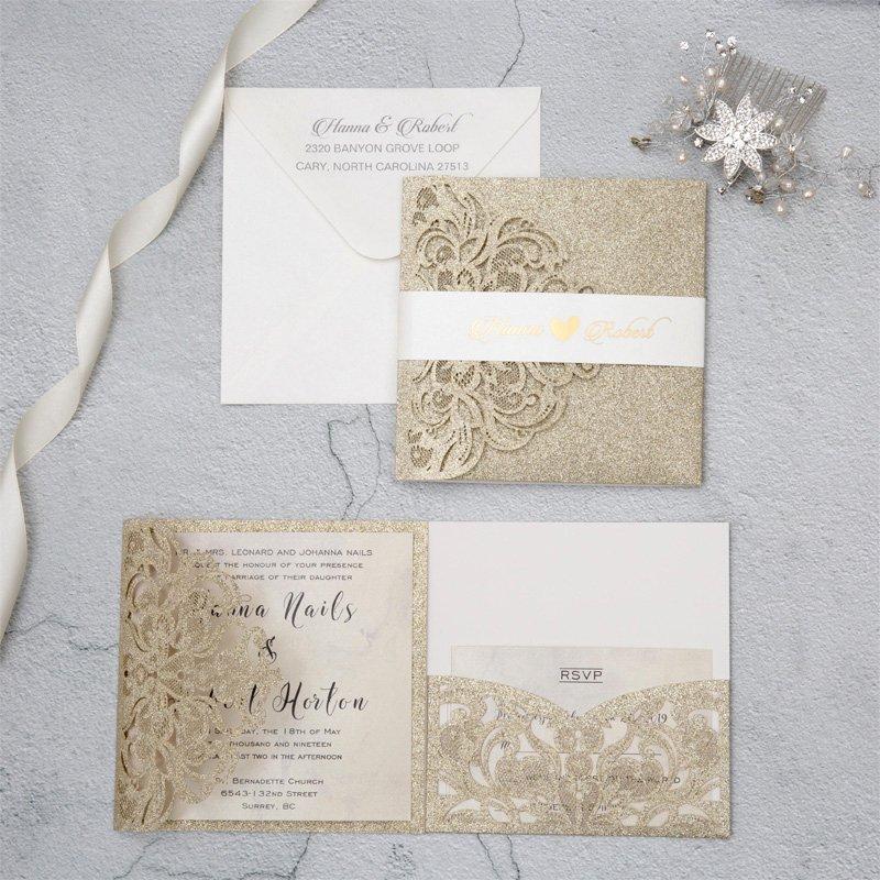Tri Fold Wedding Invitations Awesome Luxury Champagne Gold Glitter Tri Fold Laser Cut Pocket Wedding Invite with Belly Band Ewws224