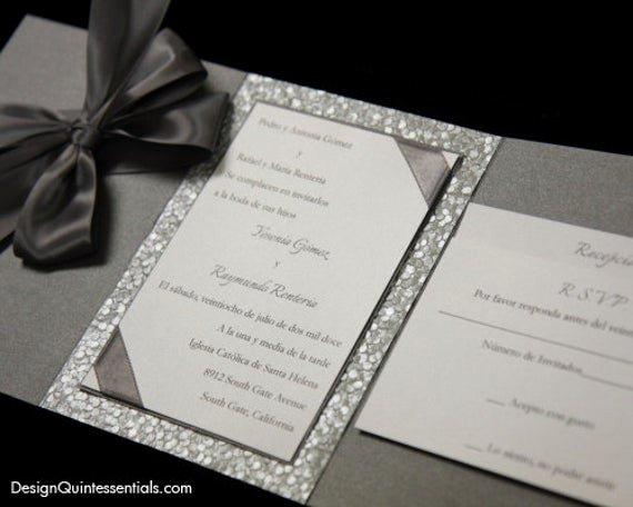 Tri Fold Wedding Invitations Awesome Pewter Embossed Pebble Wedding Tri Fold Invitation Suite