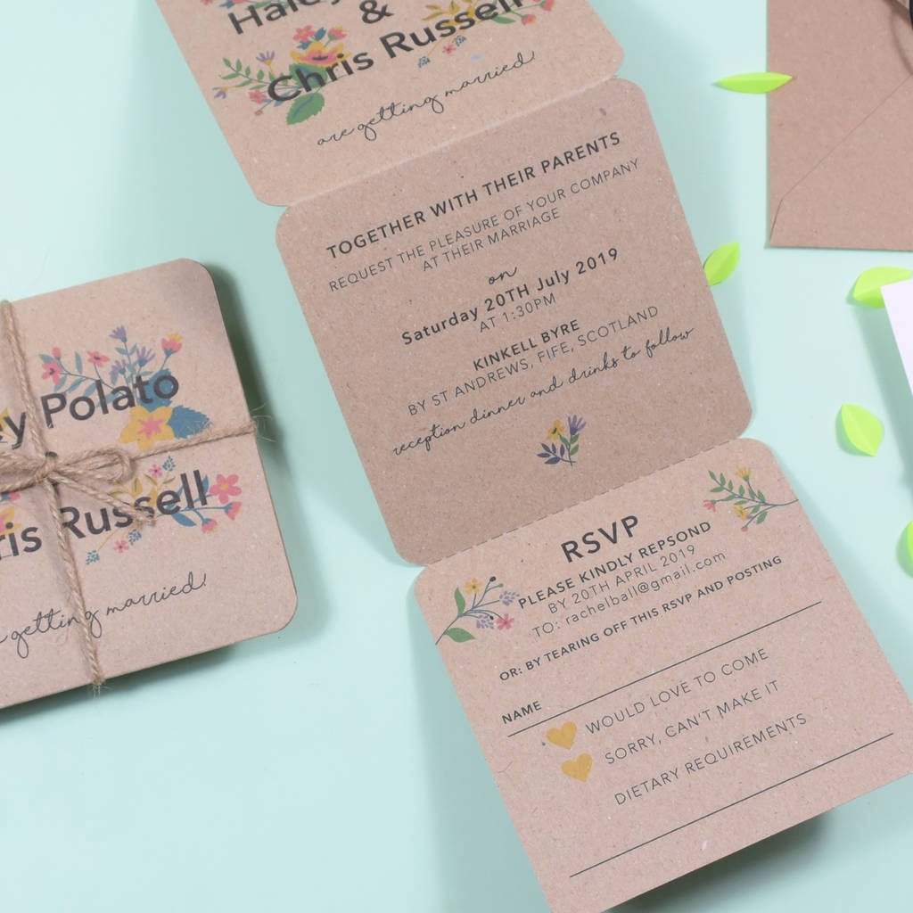 Tri Fold Wedding Invitations Best Of Floral Tri Fold Wedding Invitation by Paper and Inc