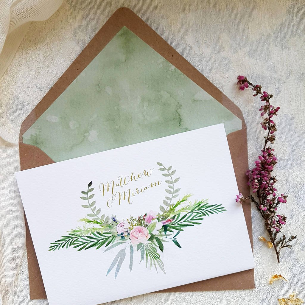 Tri Fold Wedding Invitations Elegant Blush Foliage Tri Fold Wedding Invitation by Julia Eastwood