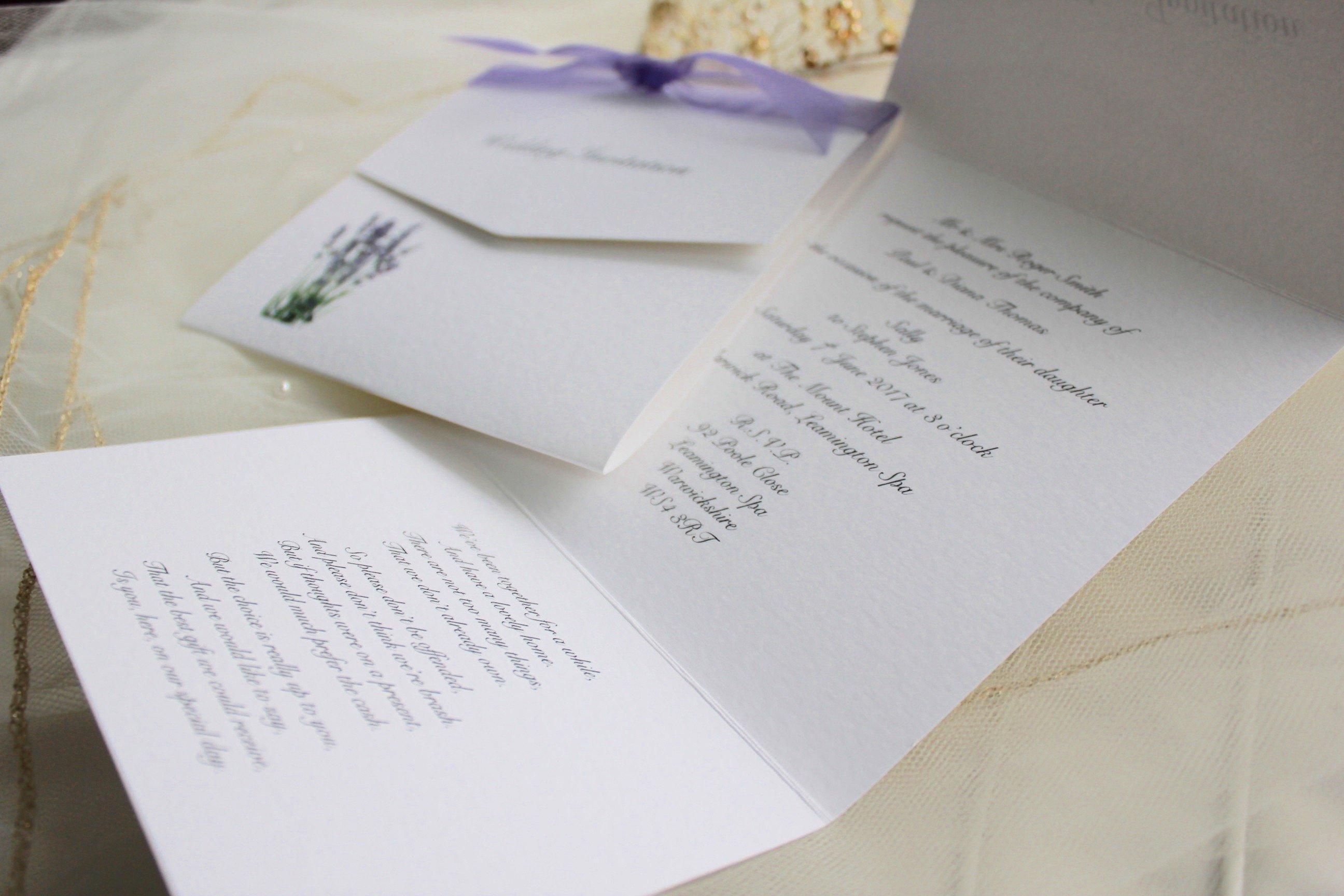 Tri Fold Wedding Invitations Elegant Lavender Tri Fold Wedding Invitations