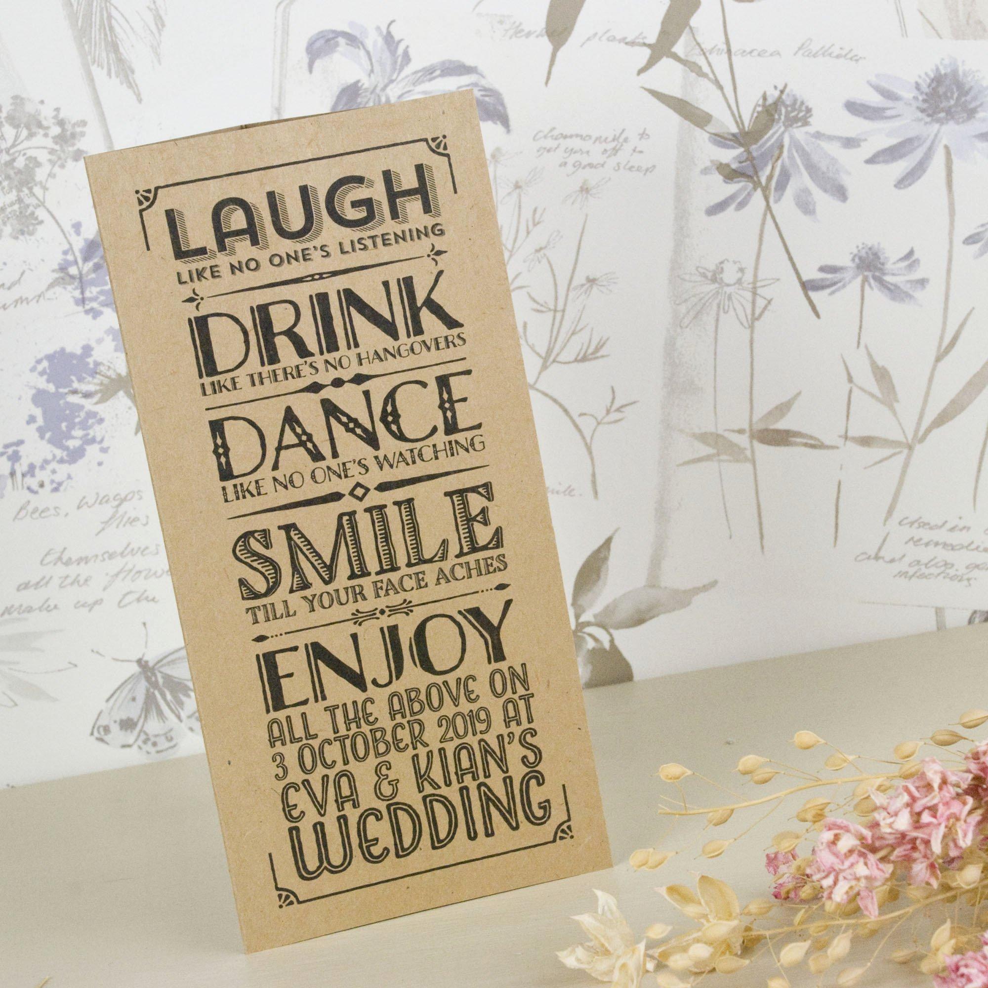 Tri Fold Wedding Invitations Elegant Vintage Typography Kraft Tri Fold Wedding Invitation – Love Wedding Print