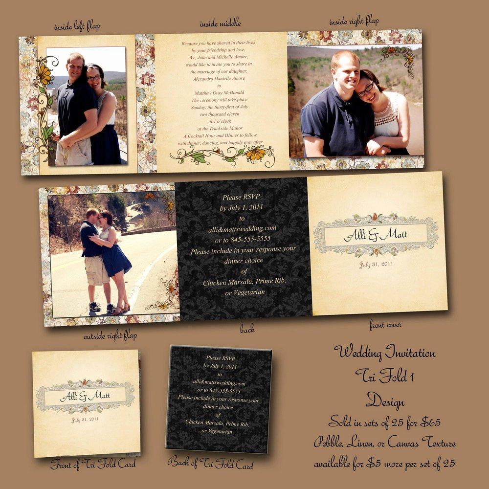 Tri Fold Wedding Invitations Fresh 5x5 Tri Fold Custom Wedding Invitation by Unrealphoto On Etsy