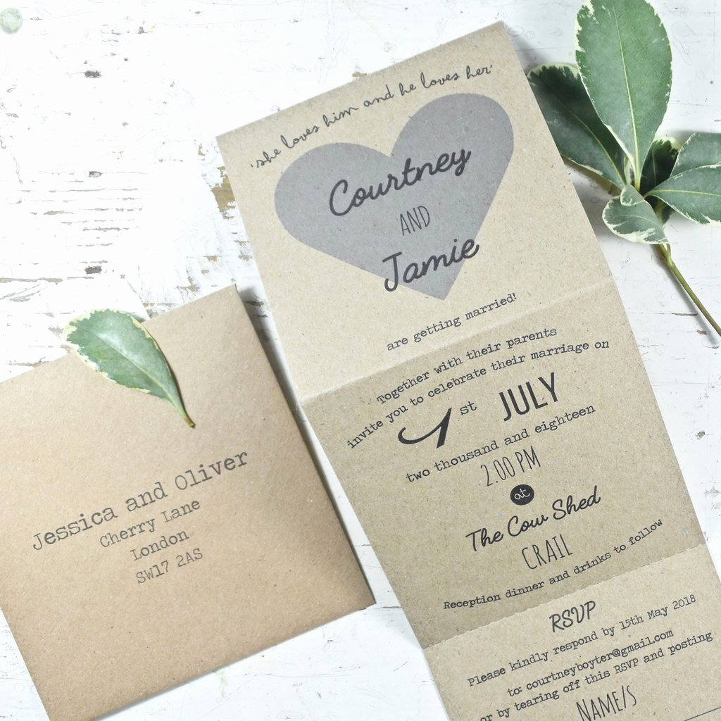 Tri Fold Wedding Invitations Inspirational Heart Tri Fold Wedding Invitation