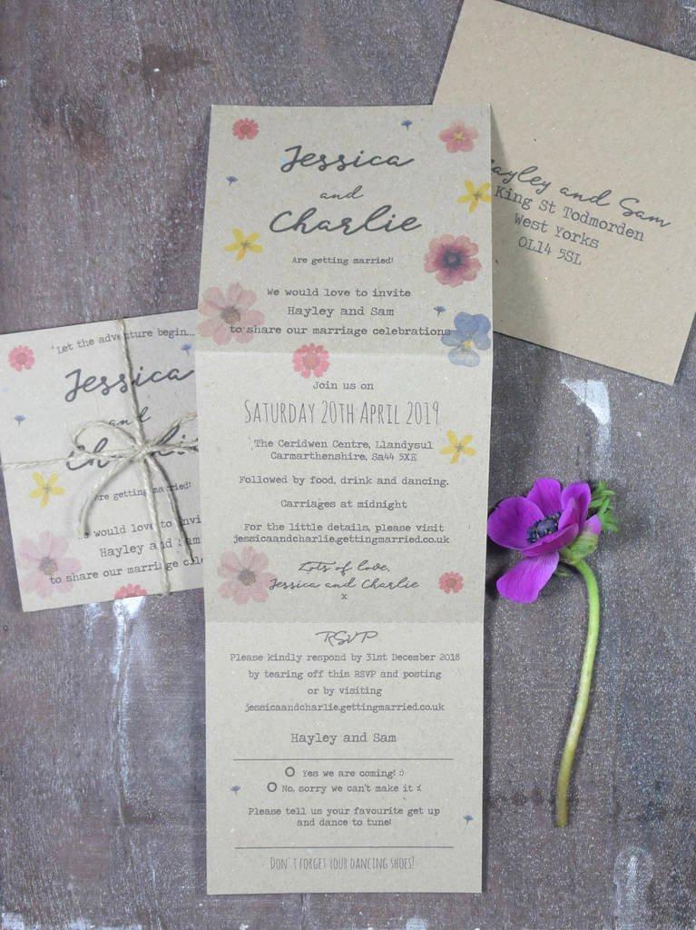 Tri Fold Wedding Invitations Inspirational Pressed Flower Tri Fold Wedding Invitation by Paper and Inc