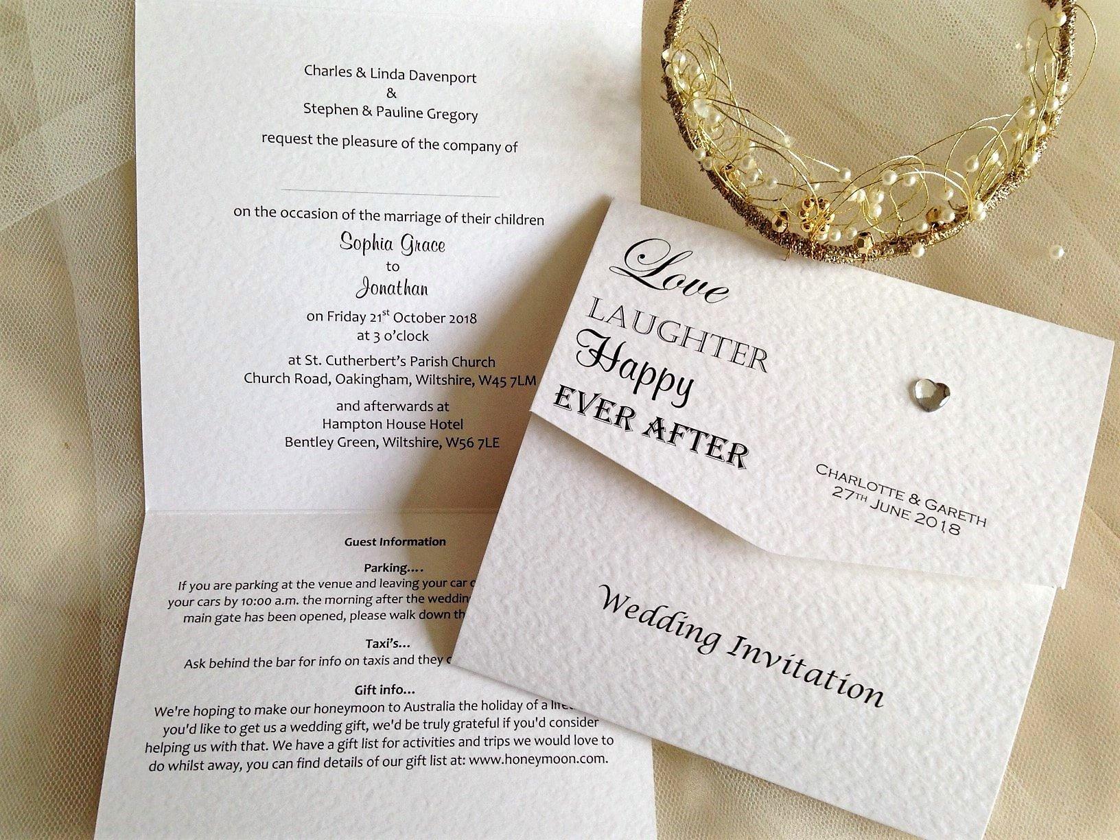 Tri Fold Wedding Invitations New Love Laughter Tri Fold Wedding Invitations £1 50