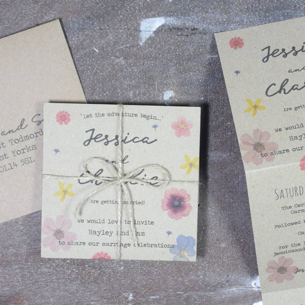 Tri Fold Wedding Invitations New Pressed Flower Tri Fold Wedding Invitation by Paper and Inc
