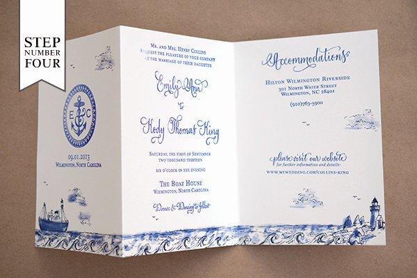 Tri Fold Wedding Invitations Unique Diy Tutorial Stamped Nautical Tri Fold Wedding Invitation Suite
