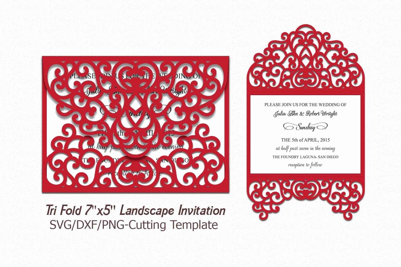 Tri Fold Wedding Invite Template Best Of Tri Fold Invitation Svg Laser Cut Wedd