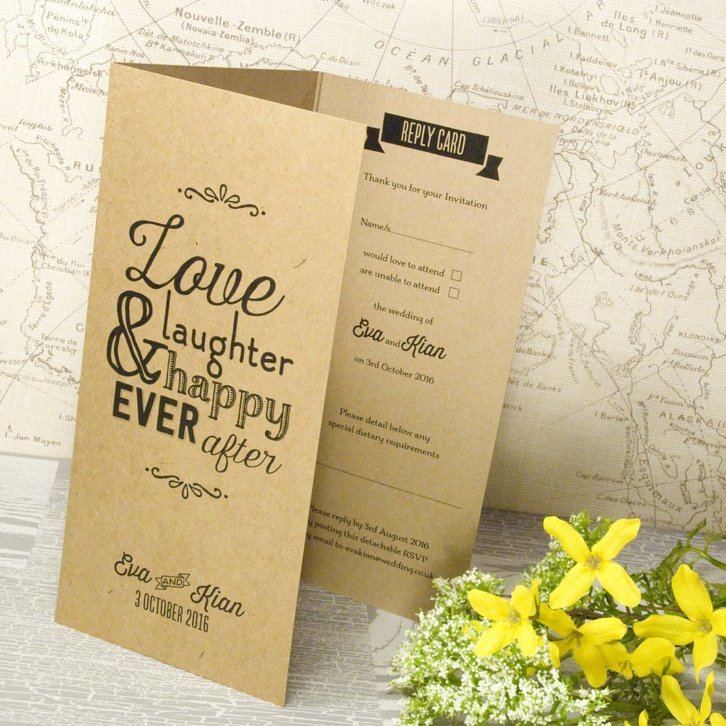 Tri Fold Wedding Invite Template Elegant Love Laughter Kraft Tri Fold Wedding Invitation – Love Wedding Print