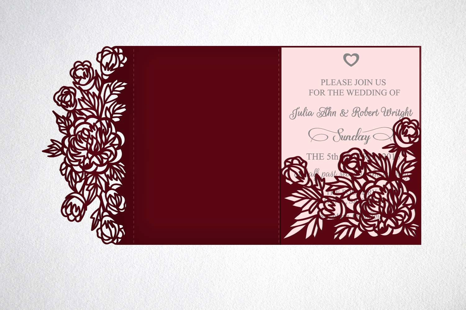 Tri Fold Wedding Invite Template Inspirational Tri Fold Wedding Invitation Svg Cricut Laser Cut Template