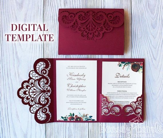 Tri Fold Wedding Invite Template Luxury Wedding Invitation Template Envelope Tri Fold ornamental for Laser Cutting Svg Dxf Ai Eps