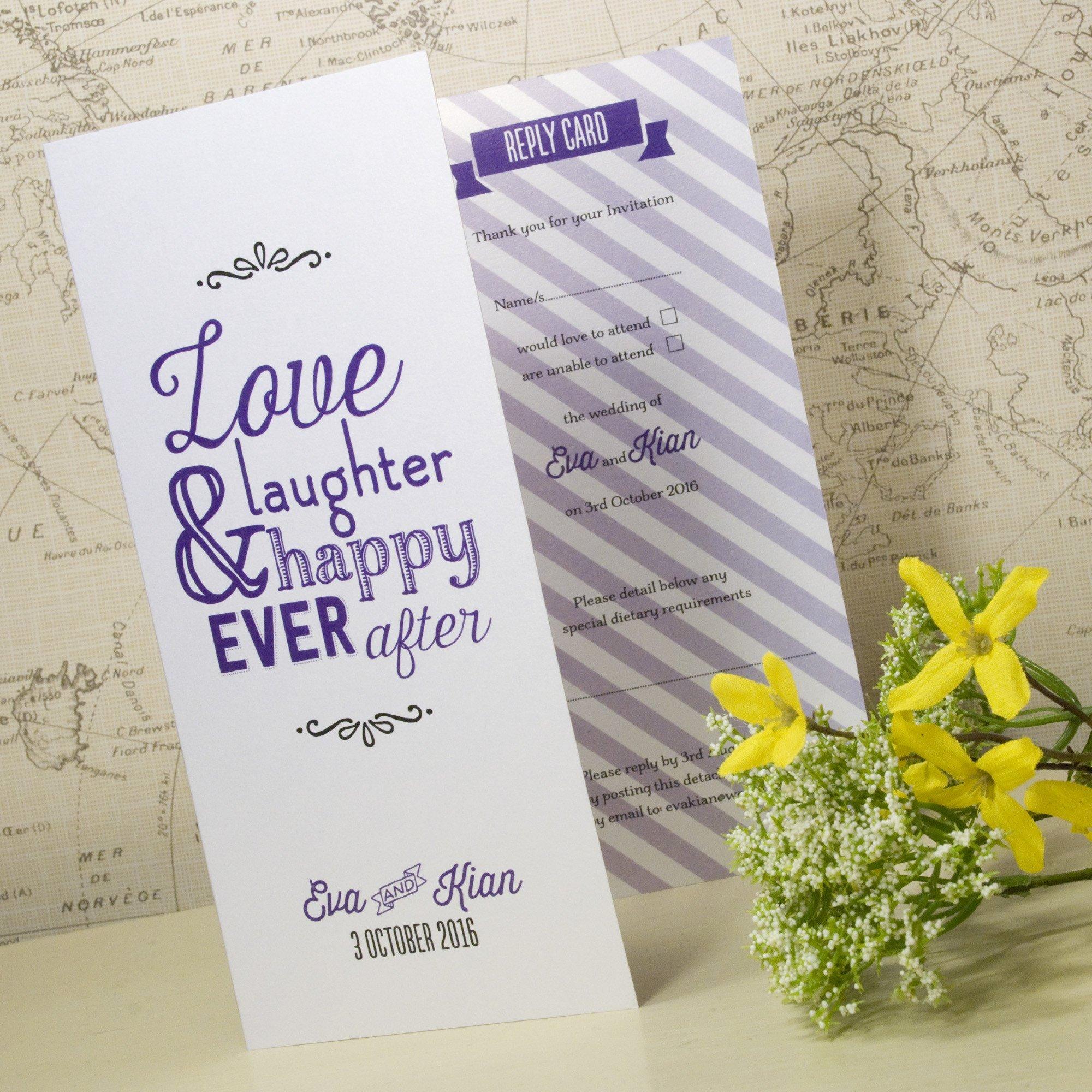 love laughter tri fold wedding invitation