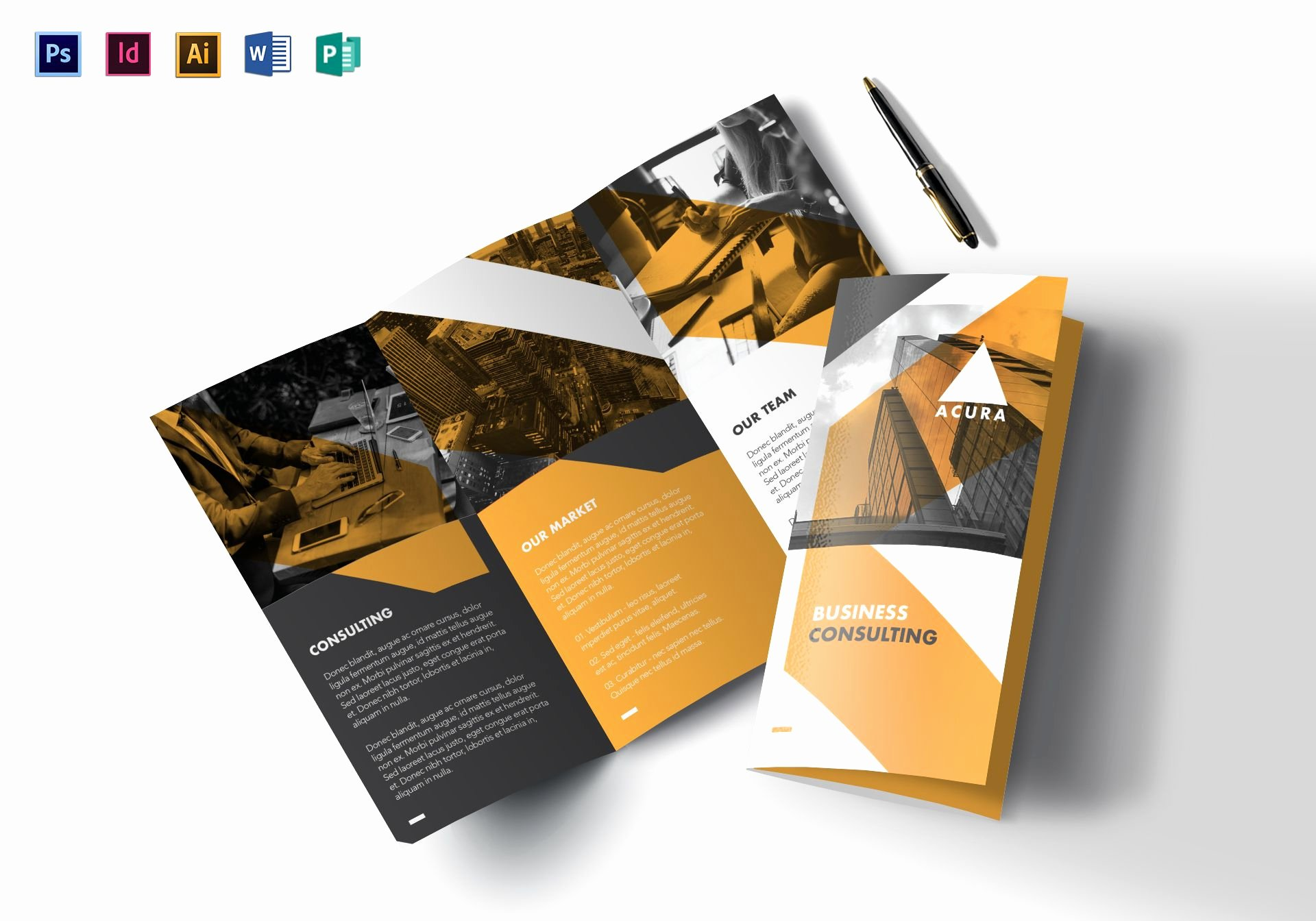 Trifold Brochure Template Photoshop Beautiful Tri Fold Business Brochure Design Template In Psd Word Publisher Illustrator Indesign
