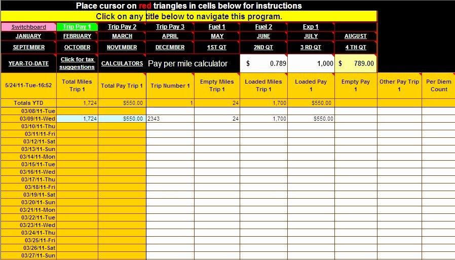 Truck Driver Trip Report Template New Spreadsheet for Truckers