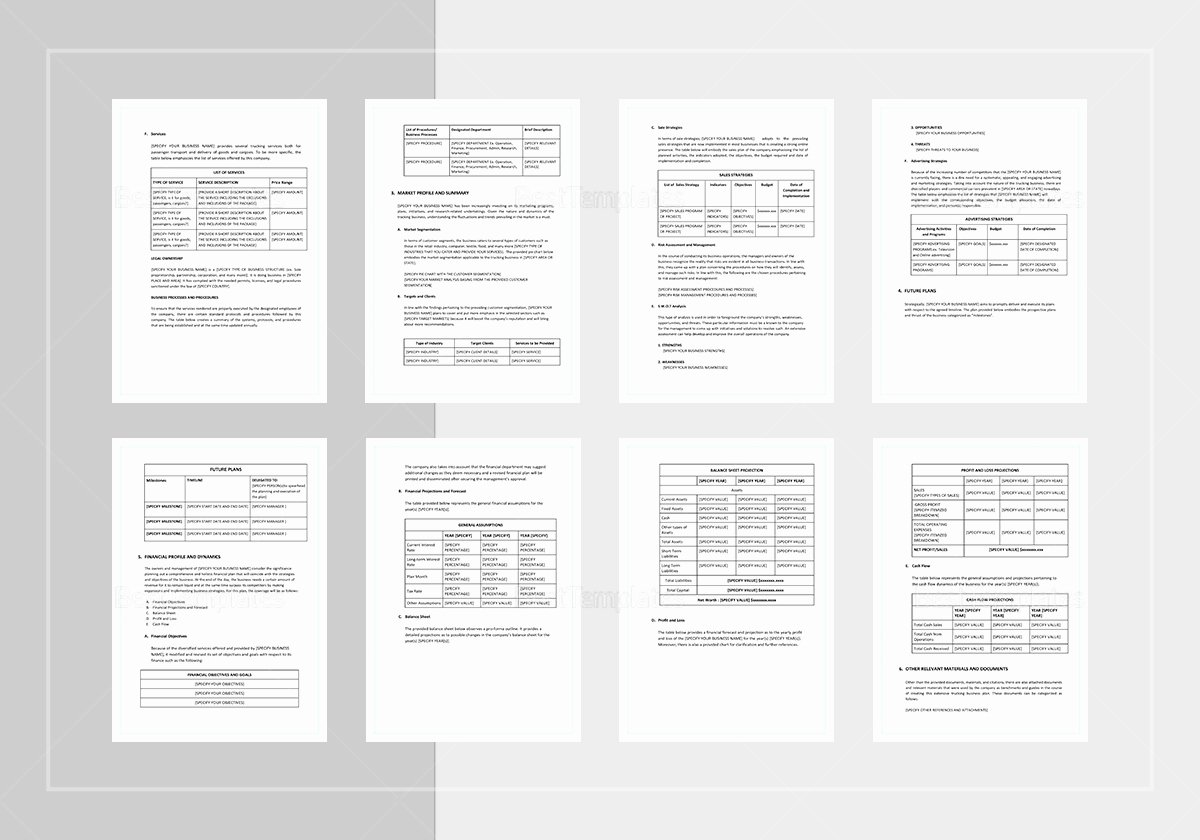 Trucking Business Plan Pdf Luxury Trucking Business Plan Template In Word Google Docs Apple Pages
