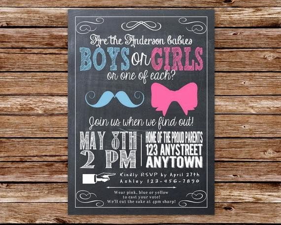 Twin Gender Reveal Invitations Beautiful Gender Reveal Invitation Gender Reveal Twins Gender Reveal Party Printable by the Paper