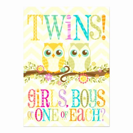 Twin Gender Reveal Invitations Best Of Baby Owl Twins Gender Reveal Unknown 13 Cm X 18 Cm Invitation Card