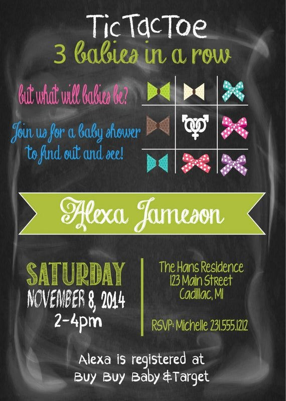 Twin Gender Reveal Invitations Elegant Gender Reveal Baby Shower Invitation Triplets by Fabpartyprints