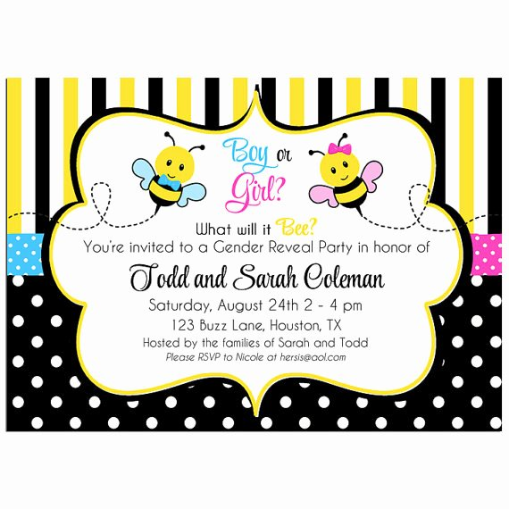 Twin Gender Reveal Invitations Inspirational Bee Gender Reveal or Twin Birthday Party Invitation by that Party Chick Pink and Blue Bee