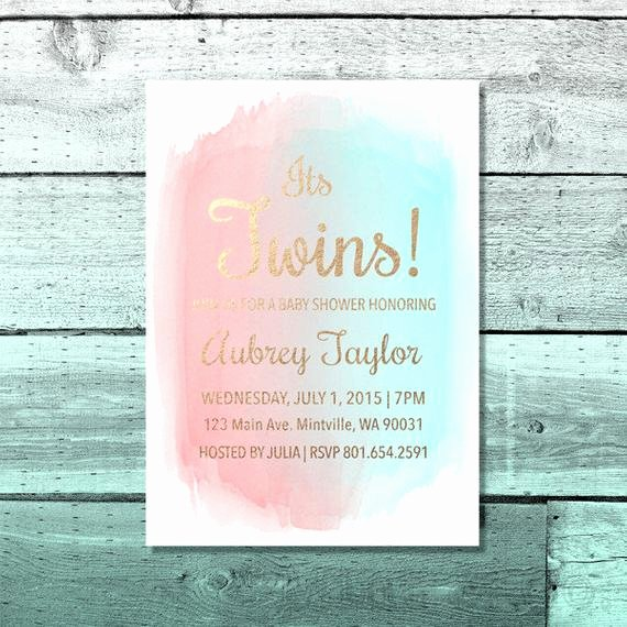 Twin Gender Reveal Invitations Inspirational Items Similar to Printable Twins Baby Shower Invitation Custom Watercolor Invite Simple