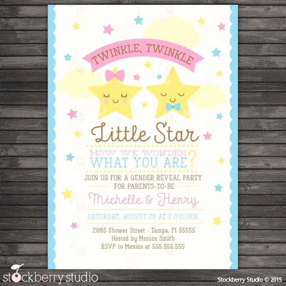Twin Gender Reveal Invitations Inspirational Twinkle Twinkle Little Star Gender Reveal Invitation Printable