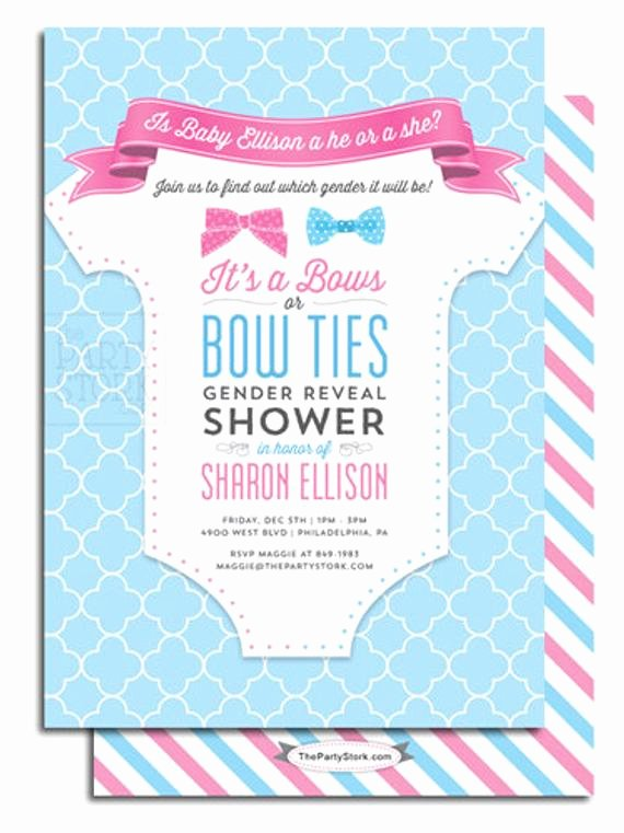 Twin Gender Reveal Invitations Lovely Gender Reveal Party Invitation Printable Bows or Bowties