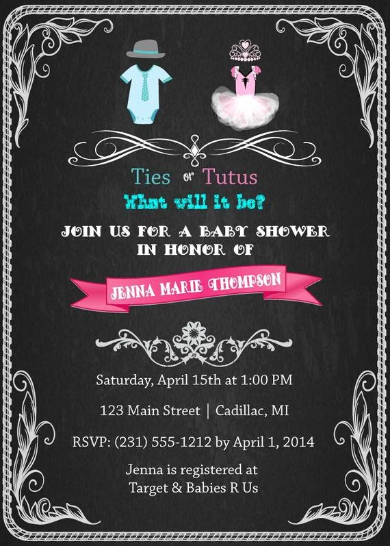 Twin Gender Reveal Invitations Luxury Gender Reveal Baby Shower Invitation Ties or by Fabpartyprints