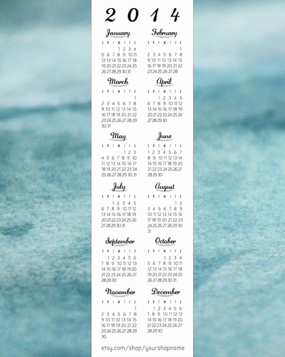 "Two Sided Bookmark Template Beautiful Items Similar to Bookmark Calendar Template 2"" X 7"" 2014"
