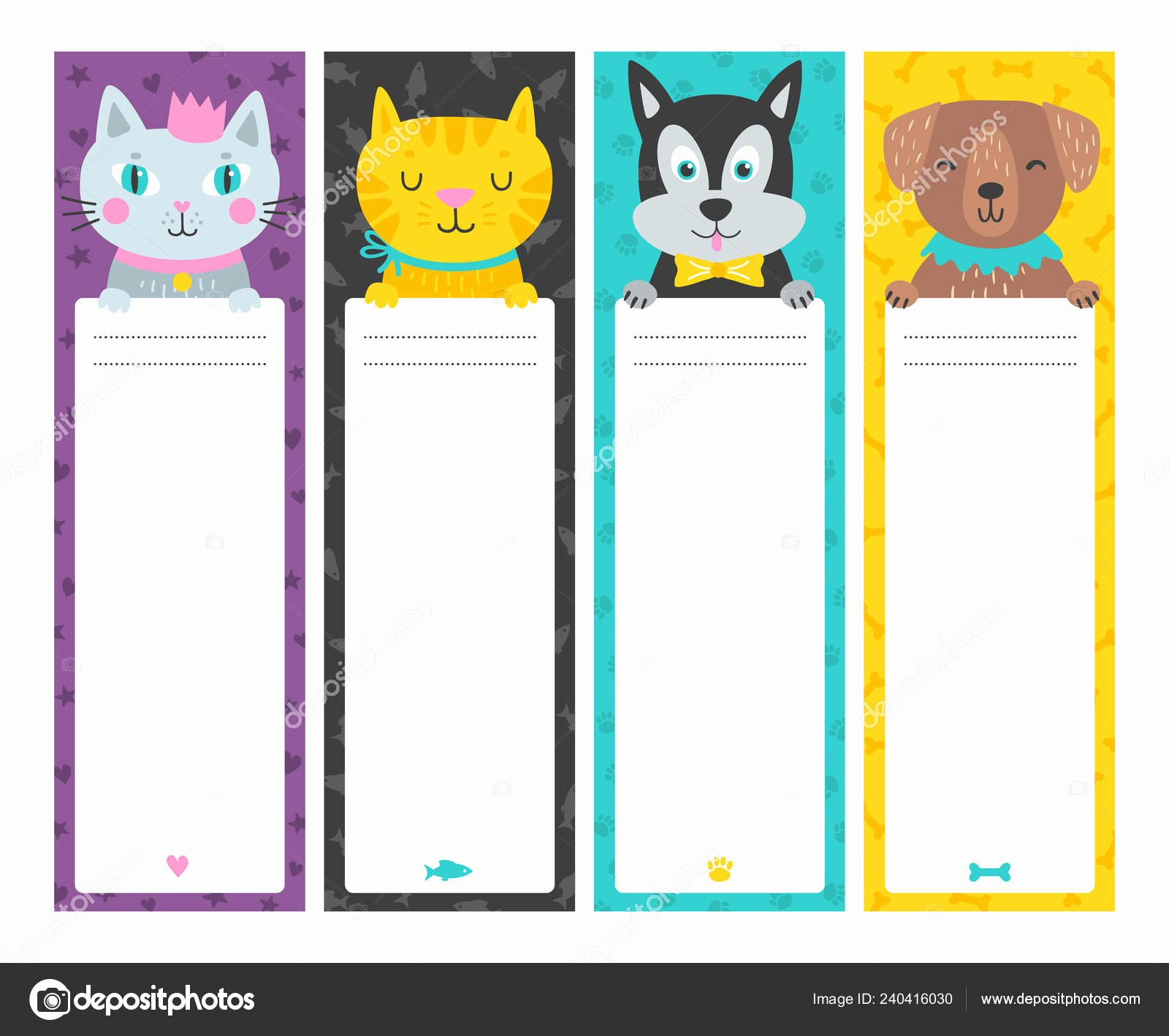 Two Sided Bookmark Template Lovely Cute Vertical Cards Animal Cartoon Style Template Card