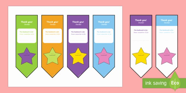 Two Sided Bookmark Template Unique Editable Bookmarks English German Editable Thank You