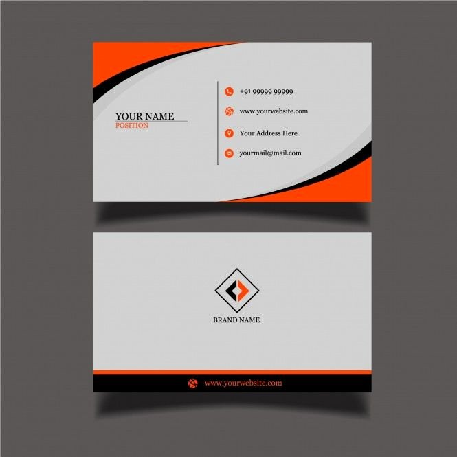 Two Sided Business Card Template Elegant Two Sided Beautiful Black orange Business Card Template Branding