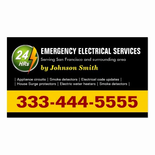 Two Sided Business Card Template New 24 Hours Emergency Electrical Service Two Sided Double Sided Standard Business Cards Pack
