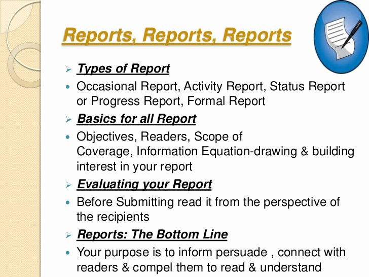 Types Of Business Reports Elegant Ppt On Business Writing